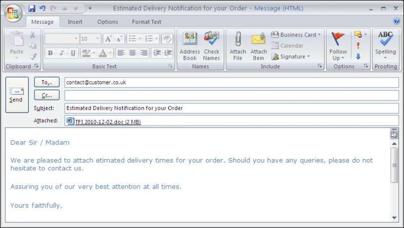 Sage back order management system for Purchase order email template